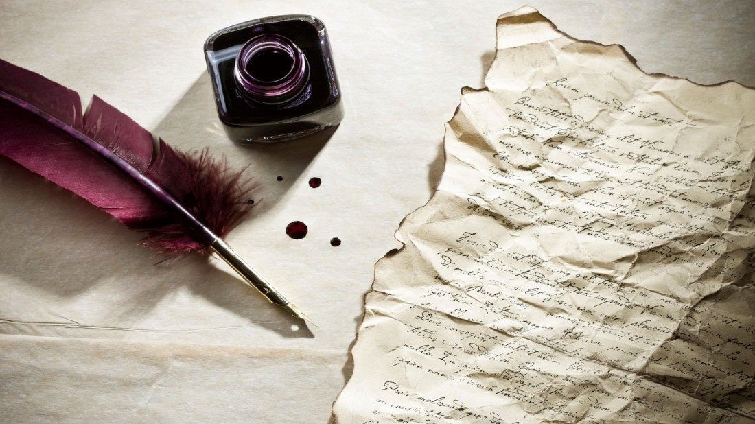 feather pen writing letter with ink bottle HD wallpapers